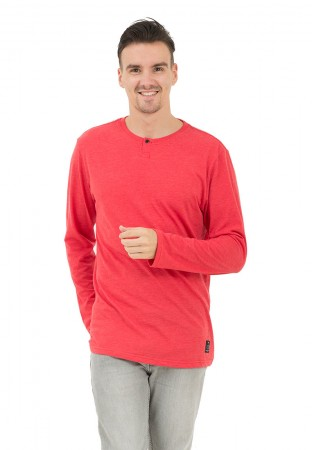 HEATHER RED BUTTON LS
